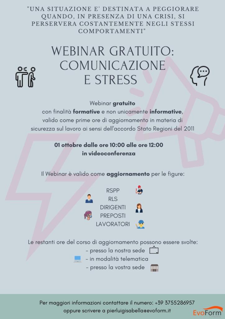 WEBINAR GRATUITO: COMUNICAZIONE E STRESS