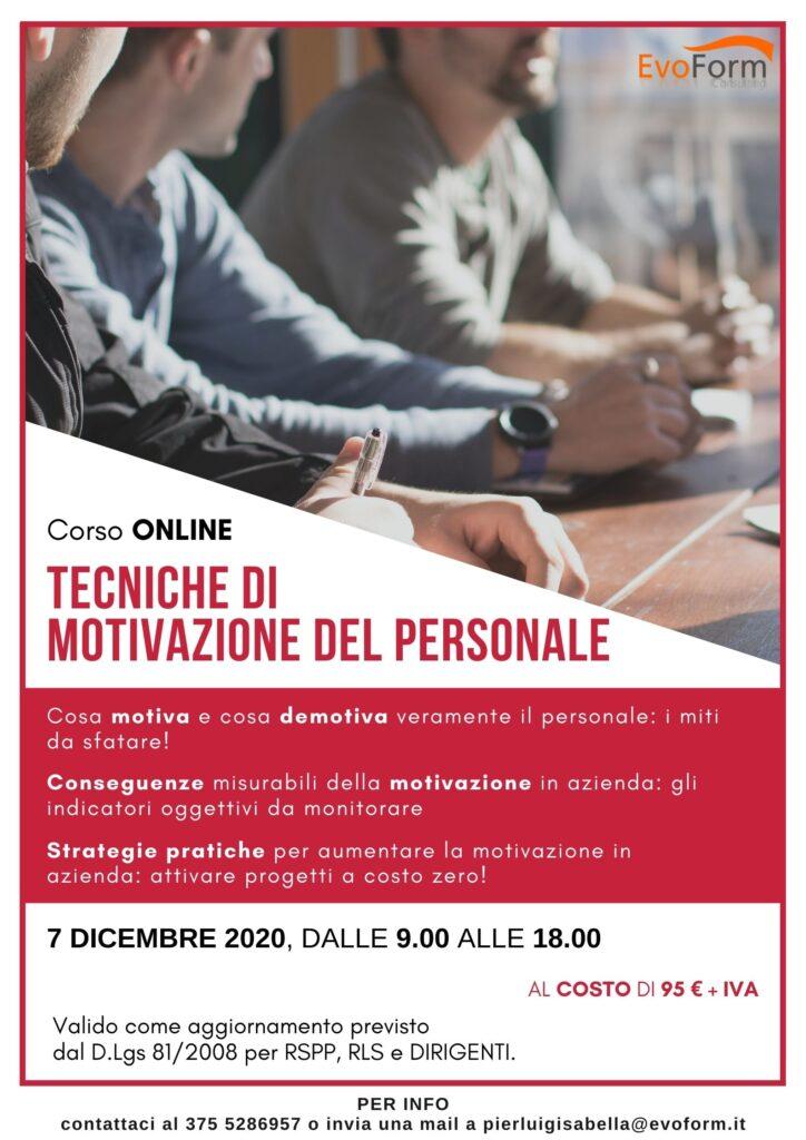 Corso Online Tecniche di Motivazione del Personale